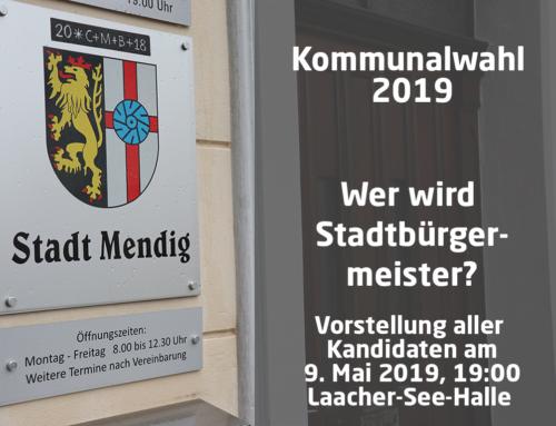 9. Mai 19 Uhr Laacher-See-Halle: Wahlinformationsveranstaltung zur Bürgermeisterwahl