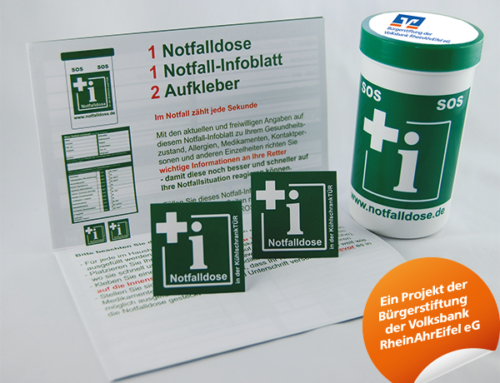 Notfalldose – jetzt auch bei der Volksbankfiliale erhältlich Notfalldose bekommt dadurch eine weite Verbreitung.